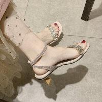 户外水钻中跟罗马女士凉鞋仙女风时尚一字带配裙子的女鞋