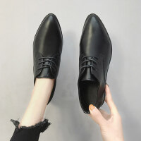 户外英伦风复古小皮鞋女ins时尚中跟百搭尖头单鞋女鞋