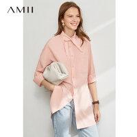 【折后价:180元】Amii极简设计感尖领落肩袖衬衫女2020春新款宽松侧开衩棉质上衣