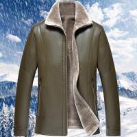 真皮皮衣男皮毛一体加绒加厚男士冬季新款绵羊皮夹克男士外套