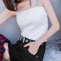 七格格白色吊带针织背心chic短款新款韩版百搭性感内搭打底上衣女士
