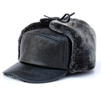 中老年男士帽子雷锋帽皮棉帽护耳户外老头帽 黑色