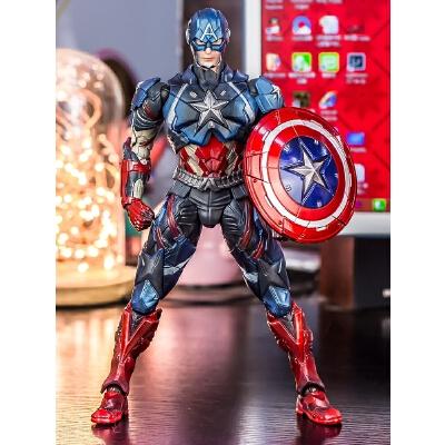 漫威PA改美国队长手办蜘蛛侠模型钢铁侠死侍玩具周边关节可动人偶