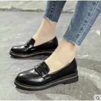 黑色单鞋女网红同款粗跟女鞋英伦学院风复古小皮鞋一脚蹬乐福鞋