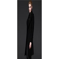 毛呢大衣女女装秋冬款上装英伦肩章中长款风衣外套 黑色