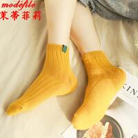 茉蒂菲莉 中筒袜 女式新款日韩系学生复古条纹纯色堆堆袜子时尚女士中帮红色粗线棉袜四季可穿休闲女袜(五双装)