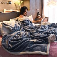 家纺冬季双层加厚法兰绒毛毯被子珊瑚绒毯子休闲毯沙发盖毯单双人床单 150*200cm(单人毯/超柔加厚)