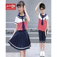 18夏季童装新款短袖学生服班服男女童套装中大儿童海军风两件套 W8729