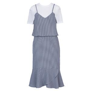 ZDORZI卓多姿夏装格子吊带荷叶边连衣裙时尚套装734E233