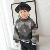 儿童卫衣加绒2017冬季新款韩版男童圆领外套加厚保暖冬装套头宽松