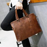 男士包包手提包潮流公文包商务休闲疯马皮复古单肩挎包韩版 咖啡色