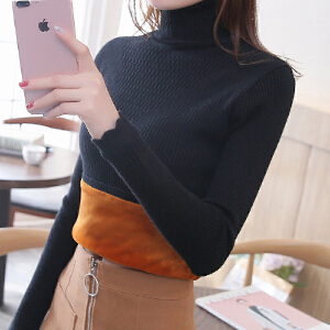 高领毛衣女修身加厚保暖百搭秋冬新款韩版加绒针织套头潮流打底衫