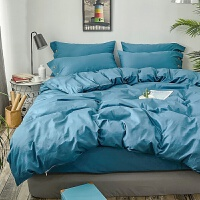 棉四件套棉简约素色床单被套2.2x2.4m床上三件套纯色床笠 小男孩蓝 颜色编号b