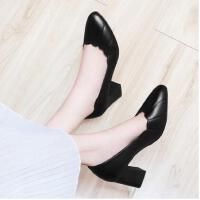 古奇天伦新款韩版百搭尖头浅口女鞋子英伦皮鞋黑色高跟鞋粗跟单鞋春季CDE8883