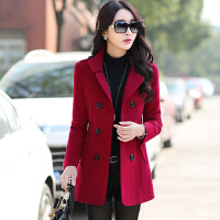 毛呢短款外套女秋冬韩版修身呢子大衣2016女士双排扣加厚纯色风衣