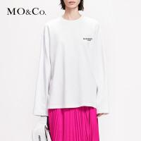 MOCO2019春季新品圆领标语印花纯色套头卫衣MAI1SWS002 摩安珂