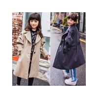 亲子装母女风衣秋冬新款韩版女童英伦风大衣中大童中长款外套