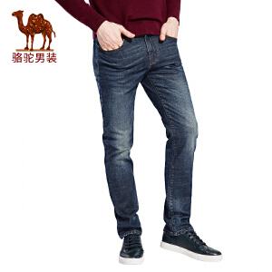 骆驼男装 2017年秋季新款水洗拉链五袋款直筒中腰男青年牛仔裤