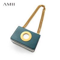 【大牌清仓 5折起】Amii[极简主义]休闲时尚简洁撞色金属链条牛皮包女圆环装饰包袋