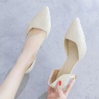 户外法式少女高跟鞋女细跟尖头中空凉鞋小清新浅口时尚单鞋