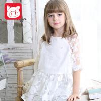 【书香节每满200减100】小猪班纳童装女童短袖连衣裙2018夏季新款儿童公主裙女孩白色裙子