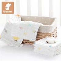 3条纱布口水巾婴儿洗脸毛巾宝宝小方巾