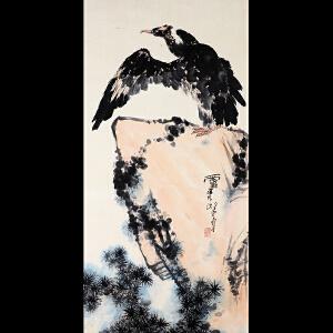 潘天寿《鹰石图》
