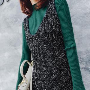 七格格针织连衣裙女2017新款秋冬装韩版显瘦a字u型时尚外穿中长吊带裙子