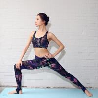 专业印花瑜伽服套装女 运动 带胸垫速干性感瑜珈踩脚紧身裤