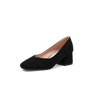 ELEISE美国艾蕾莎新品020-H02-1欧美磨砂绒面中跟粗跟女士单鞋