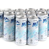 韩国进口乐天牛奶味苏打碳酸饮料250ml×12罐 妙之吻乳味汽水饮品
