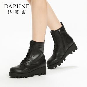 达芙妮集团鞋柜冬款舒适粗跟短靴休闲圆头系带厚底马丁靴女-1