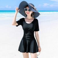 泳衣女保守韩国ins风新款性感收腰小胸聚拢遮肚显瘦连体裙式