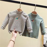 男女童高领打底衫婴儿童冬装条纹上衣宝宝卫衣