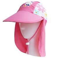 时尚儿童卡通防晒帽女童游泳帽护颈沙滩帽加长披风大帽檐 潮