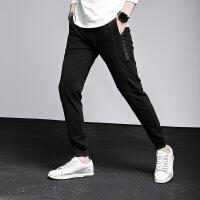 夏季薄款运动哈伦裤韩版小脚裤束脚裤休闲男士裤子卫裤黑色GCK18L63