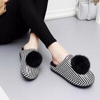 冬季女士棉拖鞋 PU皮面防水室��敉夥阑�保暖厚底坡跟毛球棉拖鞋女
