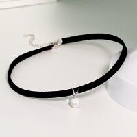 925银简约人造珍珠项链女短款银锁骨链原宿项圈黑色脖子饰品颈带