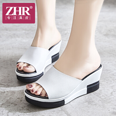 ZHR凉拖鞋女厚底简约舒适坡跟松糕一字拖时尚外穿露趾真皮女鞋2018夏新品