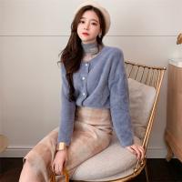 秋冬新款韩国温柔风保暖毛毛长袖短款外套+高领蕾丝打底衫女 均码