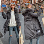 【极速发货  超低价格】2020新款韩版棉衣女中长款连帽彩色毛领加厚修身收腰大码棉服字母