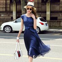 真丝连衣裙修身纯色优雅韩版圆领宽松气质修身显瘦2017年夏季