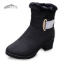 欣清2016冬季新款老北京布鞋雪地靴 女兔毛防水中筒加厚女靴粗跟靴