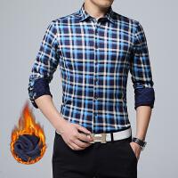 男士冬装加绒保暖格子衬衫加厚休闲长袖衬衫韩版修身衬衣