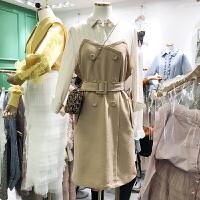 韩国ulzzang2018春新款条纹Polo领拼接束腰中长裙假两件连衣裙女