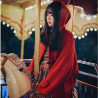重磅 秋冬新款宽松小红帽斗篷毛呢外套女红色羊毛呢大衣 红色