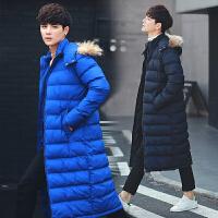 冬季外套男长款棉衣潮流韩版学生衣服冬装帅气连帽毛领棉袄男修身