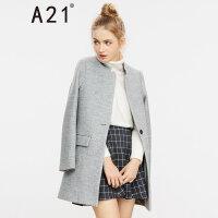 以纯线上品牌a21 秋冬新品女装立领毛呢大衣 简约百搭外套女4632124000