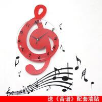 创意钟表个性石英钟田园装饰时钟静音 音乐音符客厅挂钟时尚艺术钟