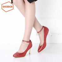 达芙妮集团 鞋柜春季新款潮甜美尖头单鞋亮片高跟女鞋